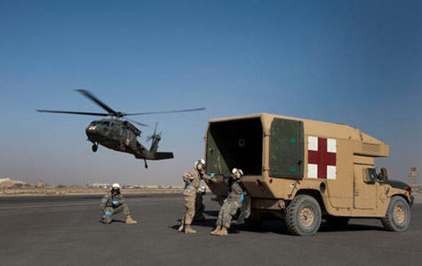 A U.S. military helicopter in Afghanistan arrives to assist a medical evacuation.