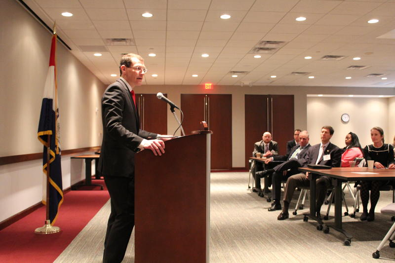 State Treasurer Clint Zweifel speaks to the St. Louis Regional Chamber on Friday, March 13, 2015.