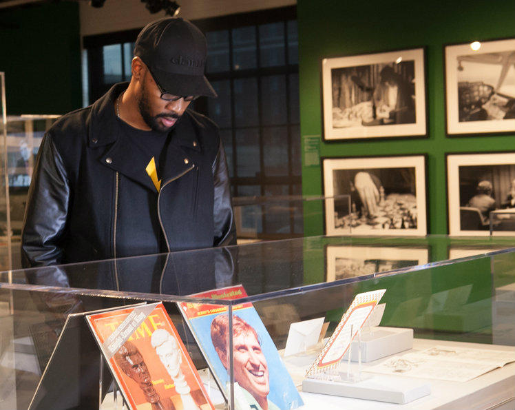 Wu-Tang Clan leader RZA, looking at a portion of the WCHOF's Bobby Fischer exhibit during October's opening ceremony of Living Like Kings.