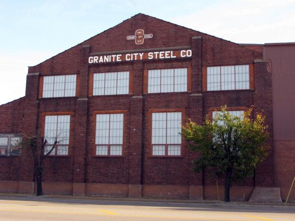 One of the buildings of U.S. Steel's campus in Granite City, where production has been idled since around the end of 2015.