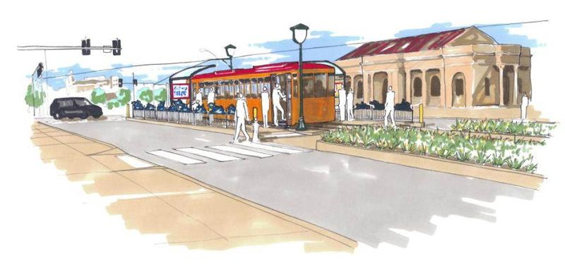 Artist rendering of the proposed Loop Trolley stop in front of the Delmar MetroLink Station.