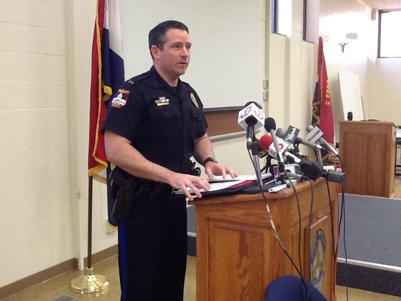 Jefferson County Police Capt. Doug Shoemaker talks with the press Tuesday.