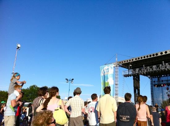 Fans enjoy Alejandro Escovedo on the blue stage on Sunday at LouFest.