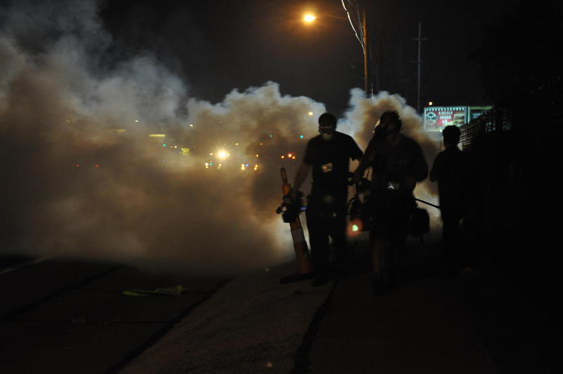 Clouds of tear gas engulf W. Florissant Ave on Aug. 17, 2014.