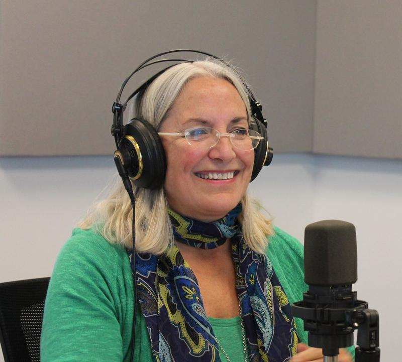 'Painting for Peace in Ferguson' author Carol Swartout Klein talks to 'St. Louis on the Air' host Don Marsh on April 1, 2015, at St. Louis Public Radio in St. Louis.