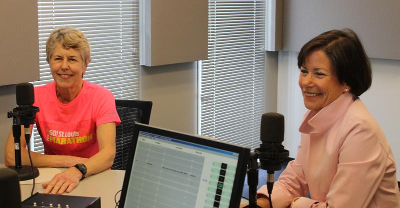 Marathon runner Rae Mohnrmann and Go! St. Louis founder Nancy Lieberman talk about the upcoming Go! marathon with 'St. Louis on the Air' host Don Marsh on April 2, 2015, at St. Louis Public Radio in St. Louis.
