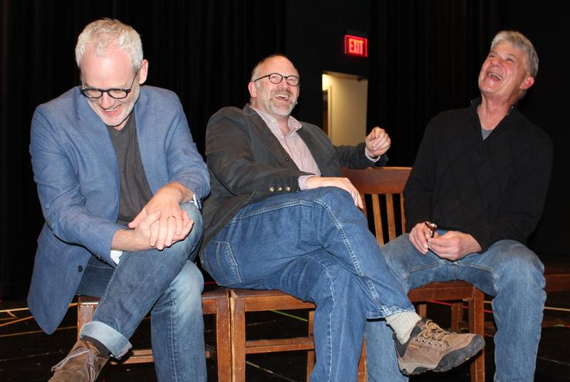 "rc)Left to right. Drew Battles (Serge), John Pierson (Ma and Larry Dell (Yvan) talk and laugh about ""Art"" and life"