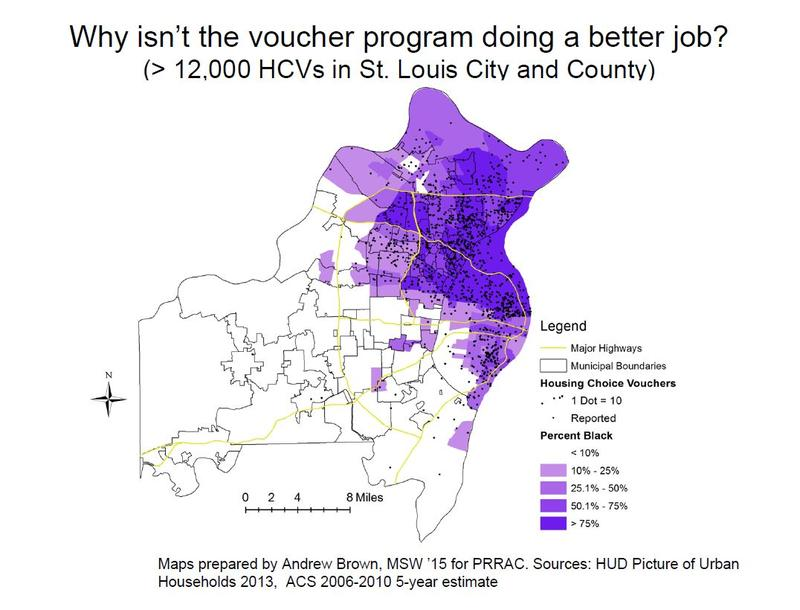A slide from a presentation during an April 2015  fair housing conference shows how Section 8 vouchers are concentrated in north St. Louis and north St. Louis County, and that most voucher holders are black.