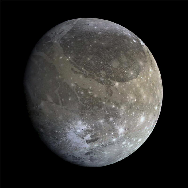 Ganymede, Jupiter's largest moon, has a large bulge at its equator.