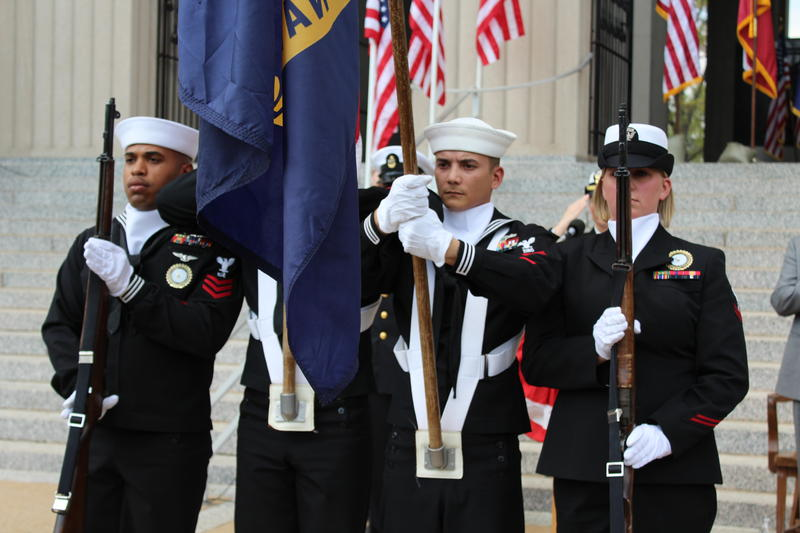 Salutes at the naming ceremony in front of the St. Louis Soldiers' Memorial Museum.