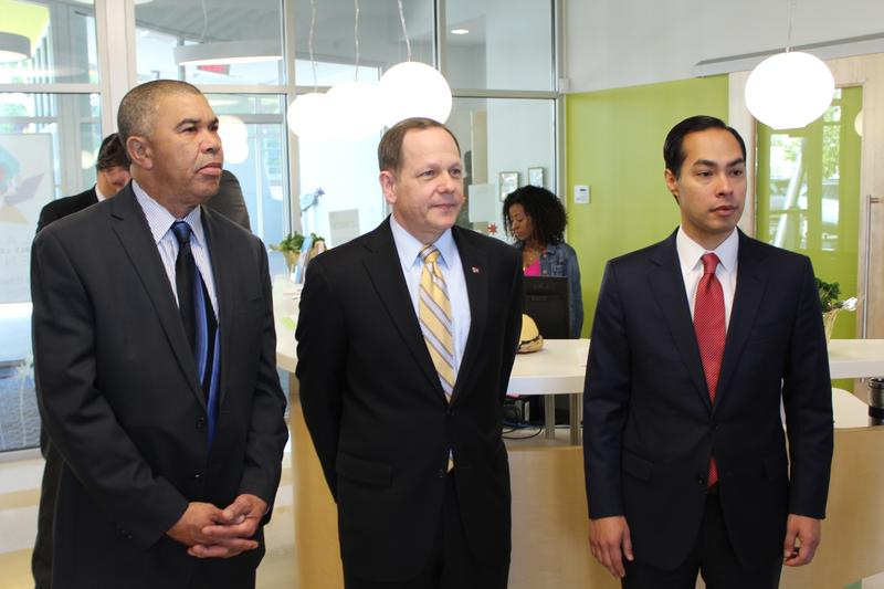 U.S. Rep. Lacy Clay, D-University City, St. Louis Mayor Francis Slay and Castro toured the Flance Learning Center before the announcement.