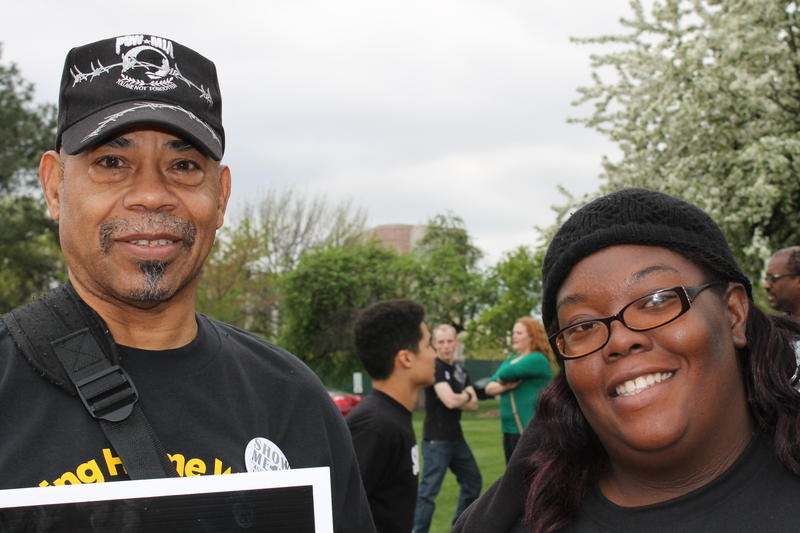 Vernon Cunningham (left) and Danielle Hines said that they can't afford to care for their families making less than 10 dollars an hour.