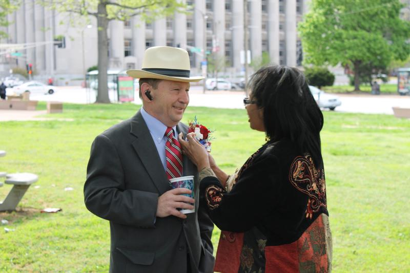 Alderman Steven Conway, D-8th Ward, sports a nifty hat at the Board of Aldermen's inauguration ceremony.