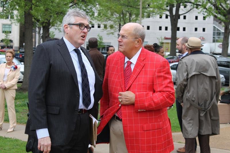 Board of Aldermen counsel David Sweeny, left, chats with Alderman Tom Villa, D-11th Ward. Villa is renowned for his colorful sportcoats.