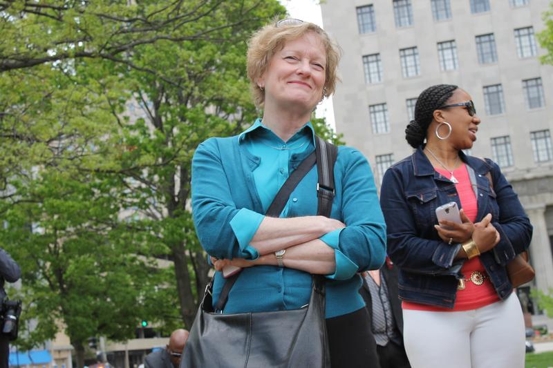 Former state Sen. Joan Bray, D-University City, listens on as Spencer thanks her supporters. Bray backed Spencer in her bid against incumbent Alderman Craig Schmid.