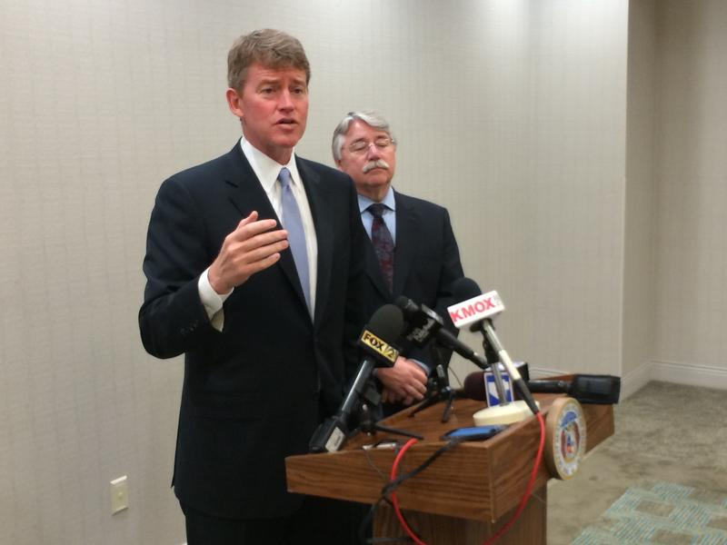 Missouri Attorney General Chris Koster and Indiana Attorney General Greg Zoeller talk to reporters on Thursday in Brentwood about the No Call List's limitations.