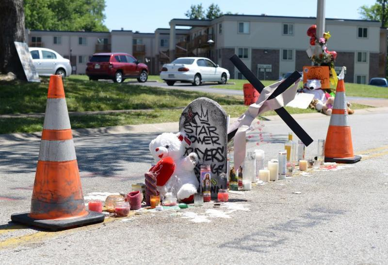 This is the spot in Ferguson where a police officer killed Michael Brown.