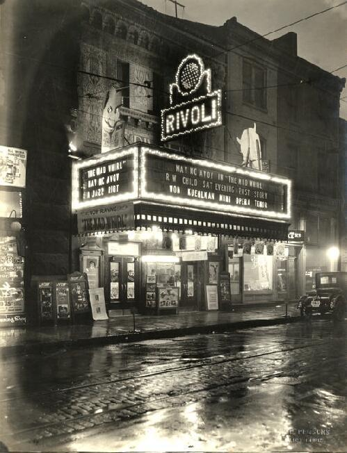 The Rivoli Theater was on Sixth Street south of Olive Street. Photograph by W.C. Persons, 1925.