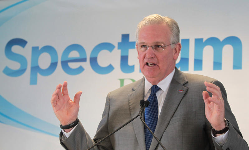 Gov. Jay Nixon says he's optimistic about funding a new football stadium even without involvement from St. Louis County. The governor emphasized that the county will still pay for the Edward Jones Dome.