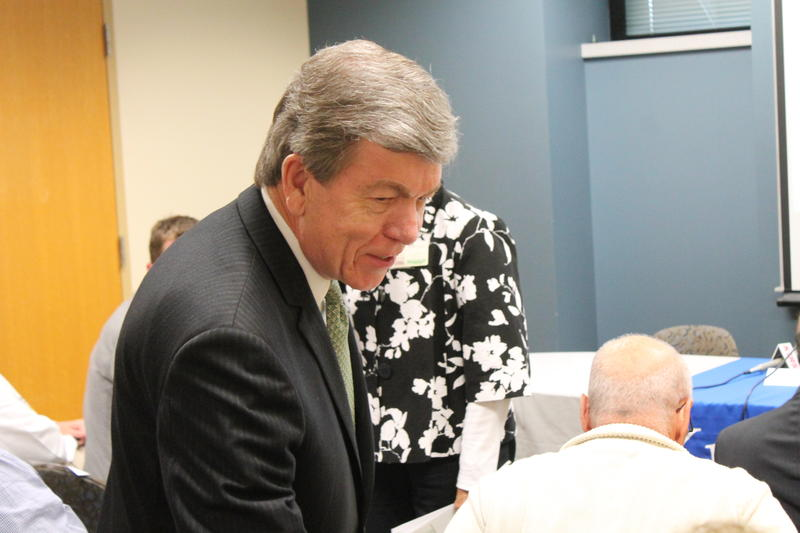 U.S. Sen. Roy Blunt meets with people Feb. 20 at Washington University's Alzheimer's Research Center in St. Louis.