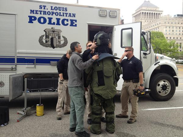 St. Louis Metropolitan Police Department Bomb and Arson team members suiting up to address suspicious packages at City Hall.