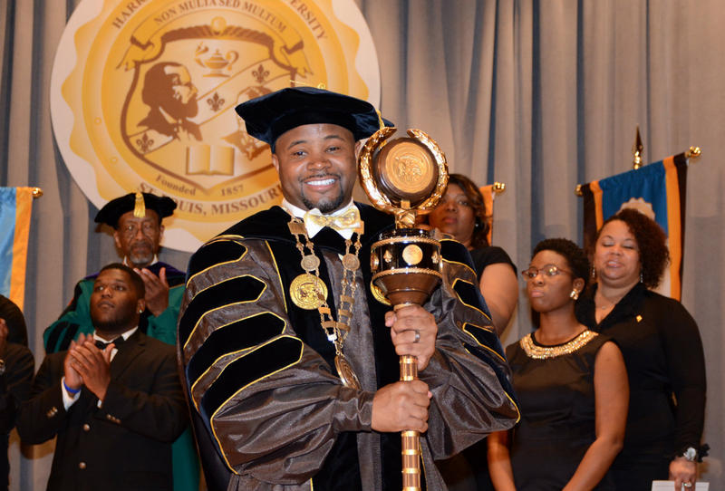 Dwaun Warmack is installed as president of Harris-Stowe State University in April 2015.