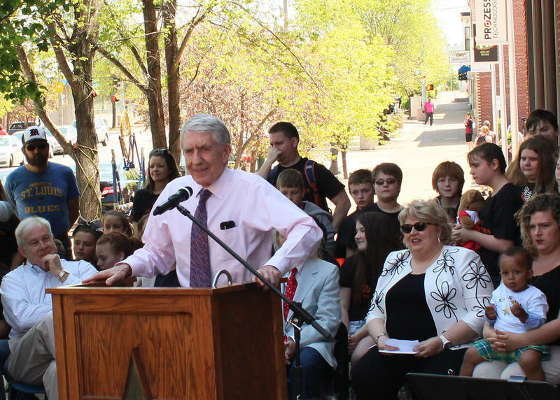 Richard Gaddes introduces Christine Brewer at the Walk of Fame ceremonies Wednesday.