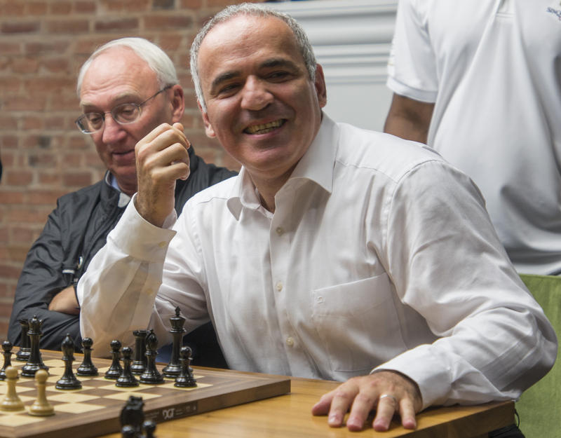 Garry Kasparov, with Rex Sinquefield in the background