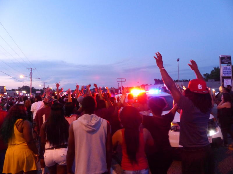 Protesters in Ferguson in August