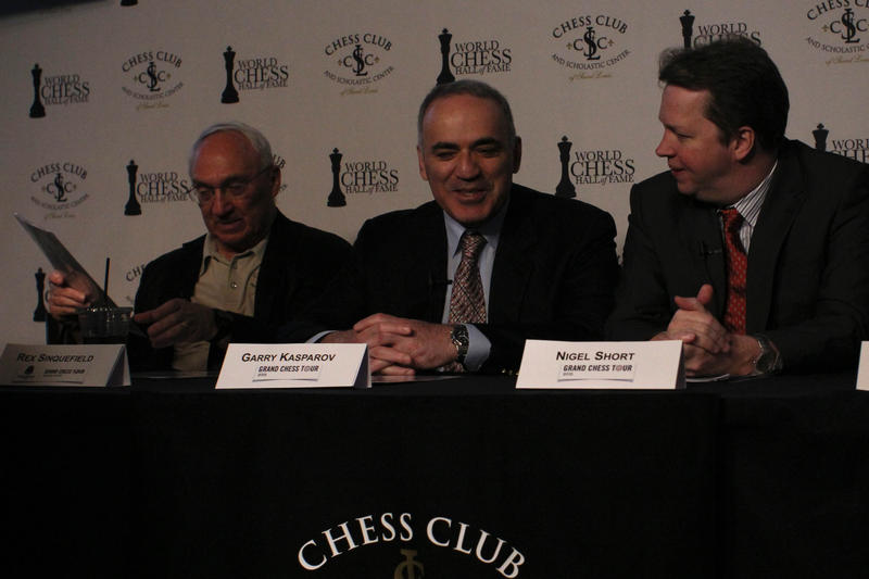Rex Sinquefield, Garry Kasparov and Nigel Short