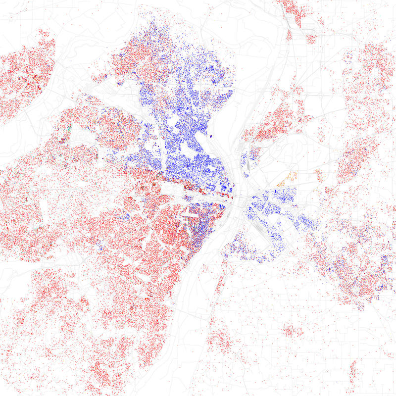 A map of St. Louis' racial and ethnic divisions using data from the 2010 Census. Each dot represents 25 people. A red dot is a white resident, blue is black, green is Asian, orange is Hispanic and yellow is other.