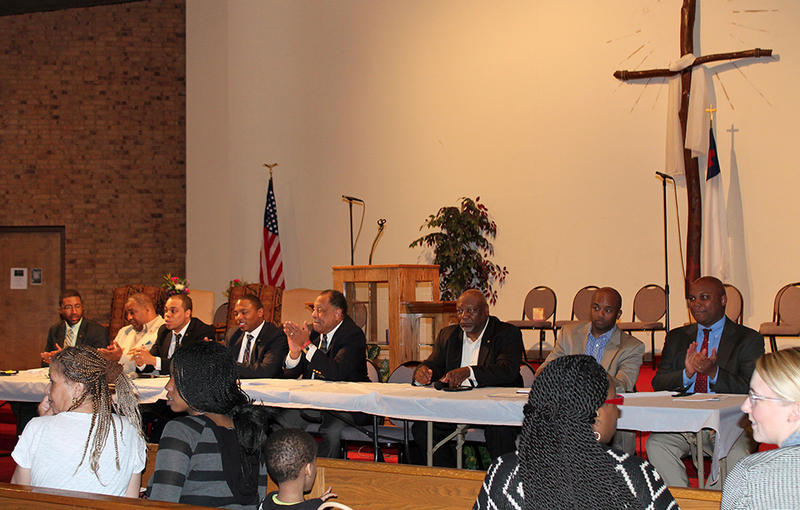 Eight members of the Missouri Legislative Black Caucus formed the town hall panel Saturday, April 18, 2015. The only female caucus member present for most of the meeting was Rep. Kayla May, who moderated.