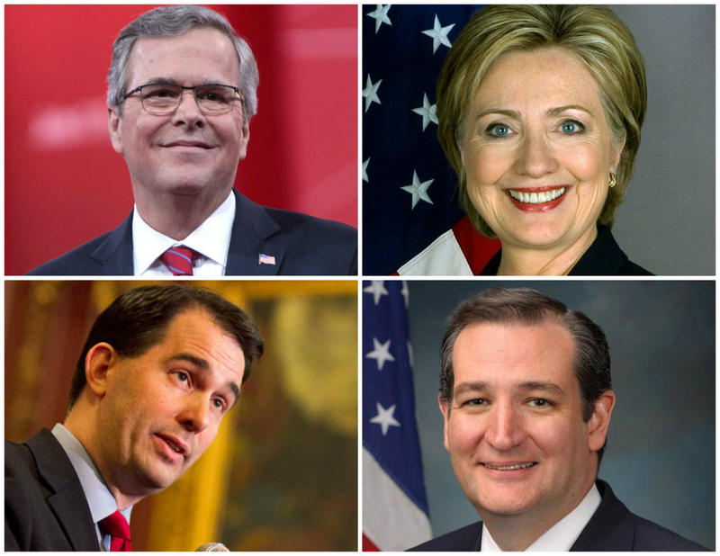 Clockwise from upper left, Jeb Bush, Hillary Clinton, Ted Cruz and Scott Walker