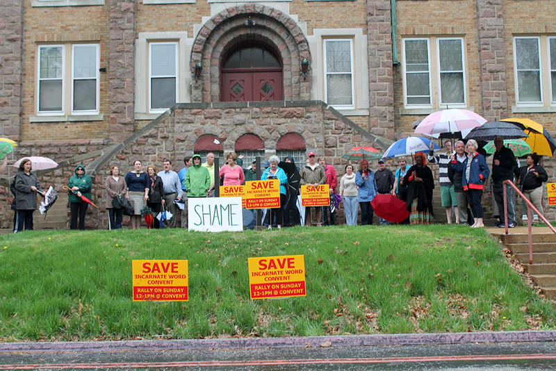 About 40 people rallied to save the former Incarnate Word convent on Sunday, April 19, 2015.