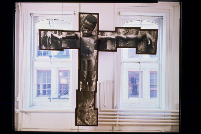 "Renée Cox, ""It Shall Be Named"" (1994). Gelatin silver prints, mahogany, and plexiglass, 105 x 104 1/2 x 4 3Ž4""(framed). Peter Norton Collection."