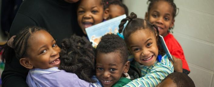 Children from a St. Louis classroom who participate in the Ready Readers program.