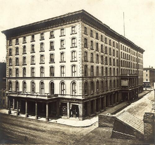 The Southern Hotel was on the southwest corner of Fourth and Walnut Streets. Photograph by Robert Benecke, 1868.