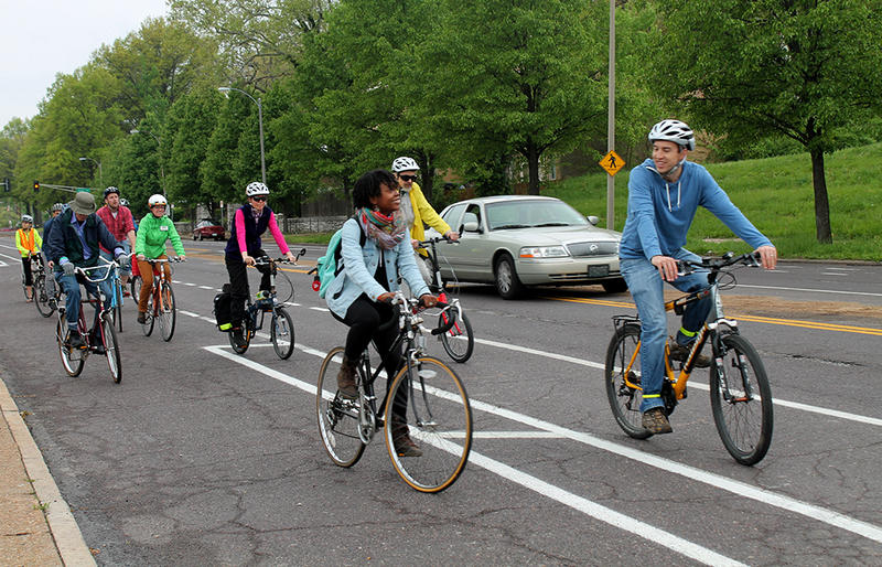Cyclists start out on a two-mile tour of the new and improved Bike St. Louis routes Saturday, April 25, 215.