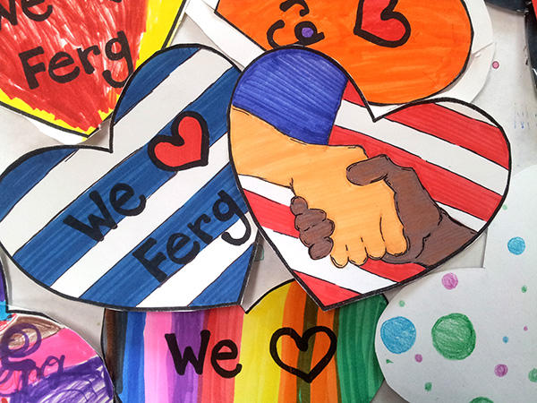 "Images from the ""Hearts for Ferguson"" project"