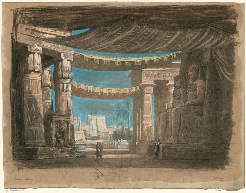Aida Act 2, scene 2, set design for the Cairo premiere by Edouard Despléchin