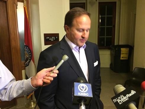 """Diehl briefly speaks with reporters after issuing a statement in which he apologized for """"poor judgment"""" regarding texts he had with a female intern."""