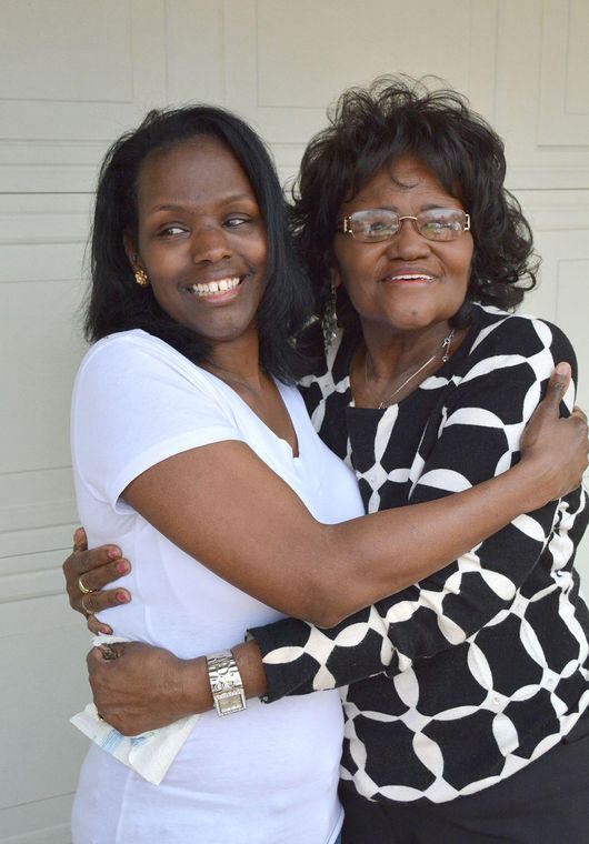 Zella Jackson Price (right) and her daughter Melanie Gilmore are reunited, nearly 50 years after Price was told her daughter died at birth.