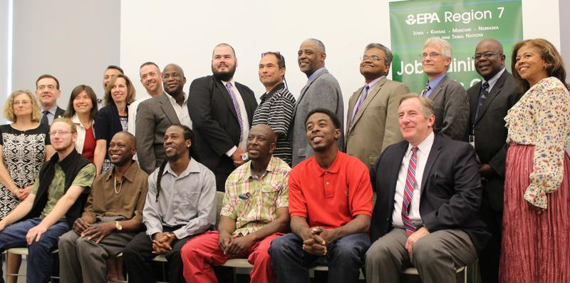 May 2015 graduates. Front row from left to right: Sean Marks, Cory Chandler, Prince Farris-Settles, Alvin Love, Michael Harris (red shirt). Back row from left to right: Matt Hermeyer (white shirt), Paul Oryem, Sean Kempf, Joel Smith, Stacey Robinson.