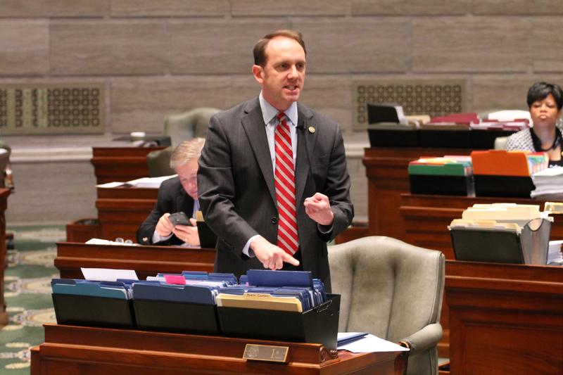 State Sen. Scott Sifton angrily speaks on Wednesday. The Affton Democrat was a key figure in grinding business of the Senate to a halt after Republicans stopped a filibuster of right to work.