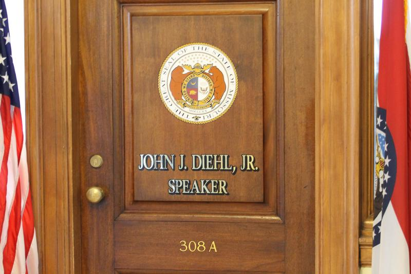House Speaker John Diehl's door. Reporters camped outside the Town and Country Republican's office after the KC Star story broke.