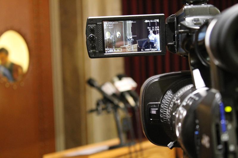 A television camera waits for House Majority Leader Todd Richardson, R-Poplar Bluff, to meet the press on Thursday.