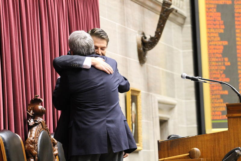 Richardson hugs his father, Mark Richardson, right after he was elected as speaker of the  Missouri House.