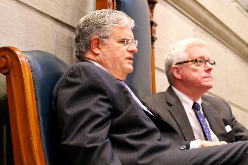 "Senate Majority Leader Ron Richard, R-Joplin, and Lt. Gov. Peter Kinder, wait out the final hours of the Missouri Senate's session. Both men were strong proponents of ""right to work"" legislation, which is opposed strongly by labor unions."