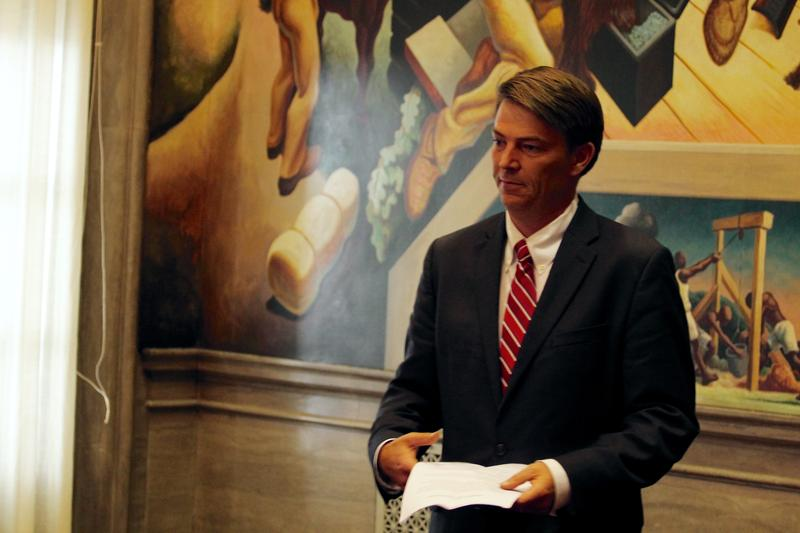Richardson enters the House Lounge for an end-of-session press conference on Friday.
