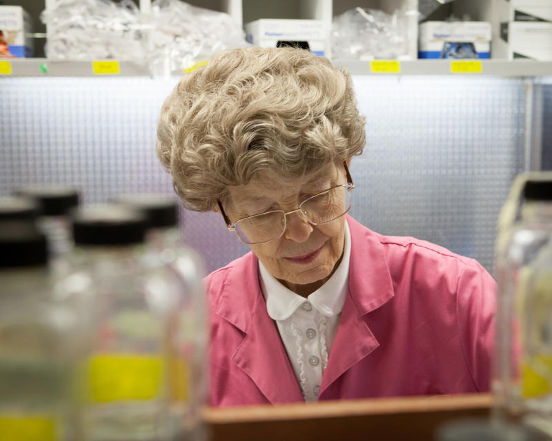 Microbiologist Mary-Dell Chilton works in her lab at Syngenta.